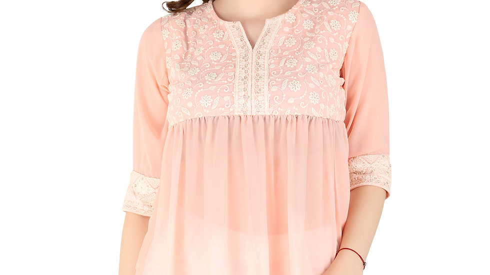 UNFAKENOW Formal Cuffed Sleeve Embroidered Women Pink Cotton Top