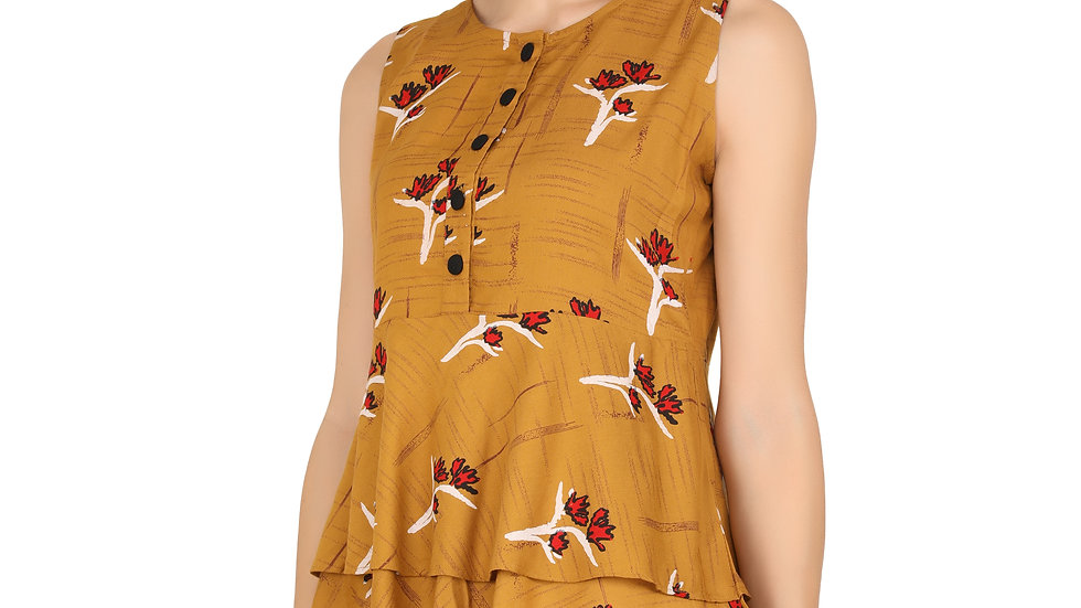 UNFAKENOW  Casual No Sleeve Floral Print Women Brown Top