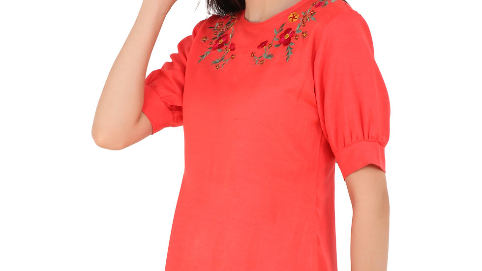 UNFAKENOW  Casual Puff Sleeve Embroidered Women Red Top