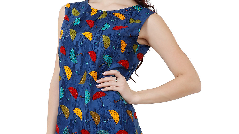 UNFAKENOW  Casual No Sleeve Graphic Print Women Blue Top