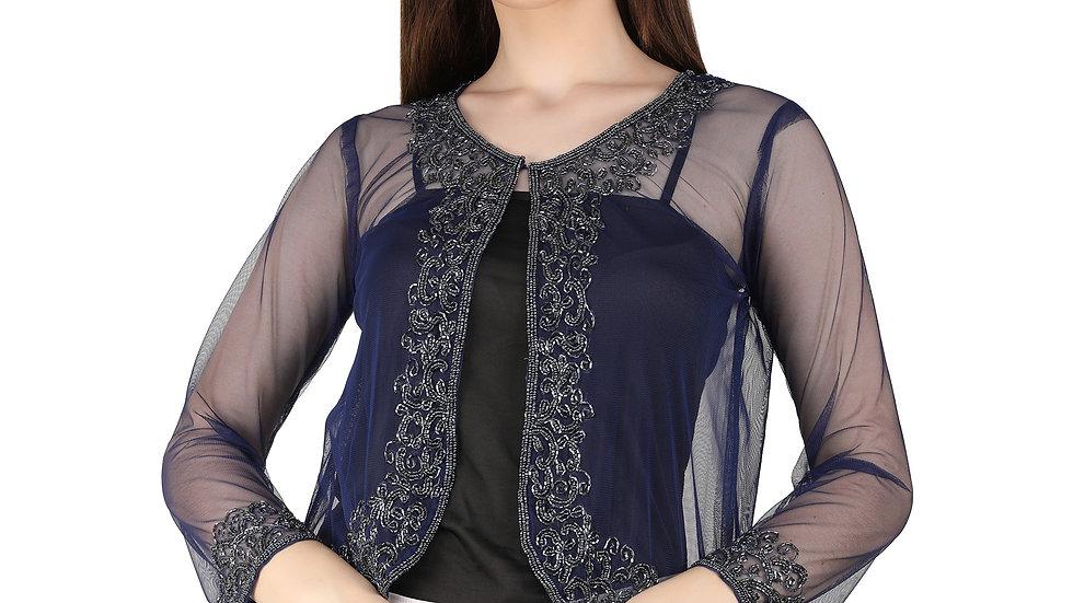 UNFAKENOW  Women Jacket Style Full Sleeve Dark Blue Shrug