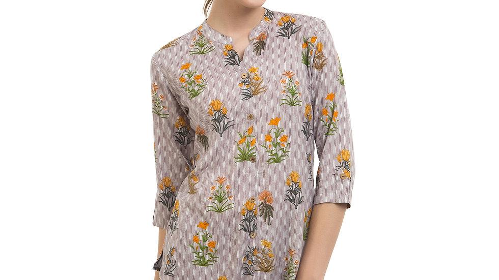 UNFAKENOW  Casual 3/4 Sleeve Floral Print Women Grey Top