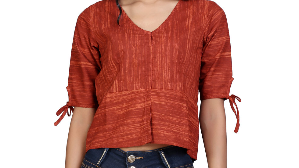 UNFAKENOW  Casual Half Sleeve Solid Women Brown Top