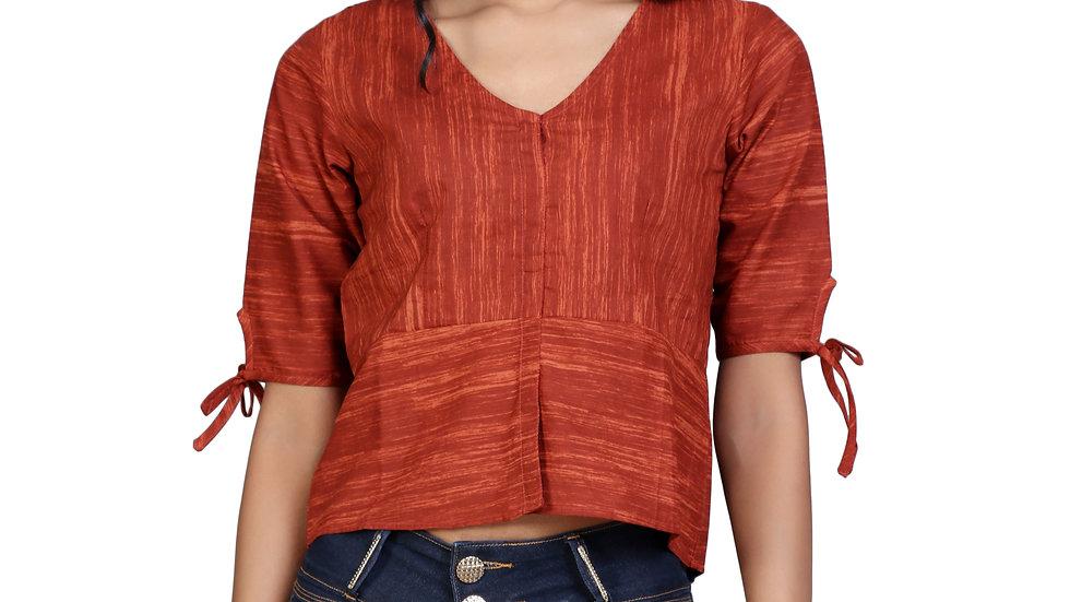 UNFAKENOW  Casual Half Sleeve Solid Women Brown Top