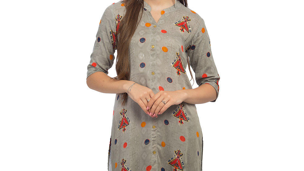 UNFAKENOW  Women Geometric Print Cotton Blend Straight Grey Kurta