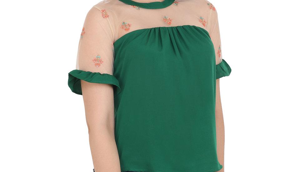UNFAKENOW  Casual Short Sleeve Embroidered Women Dark Green Top
