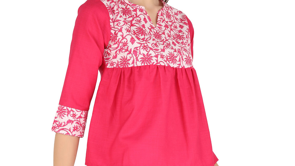 UNFAKENOW  Casual 3/4 Sleeve Floral Print Women Pink Cotton Top