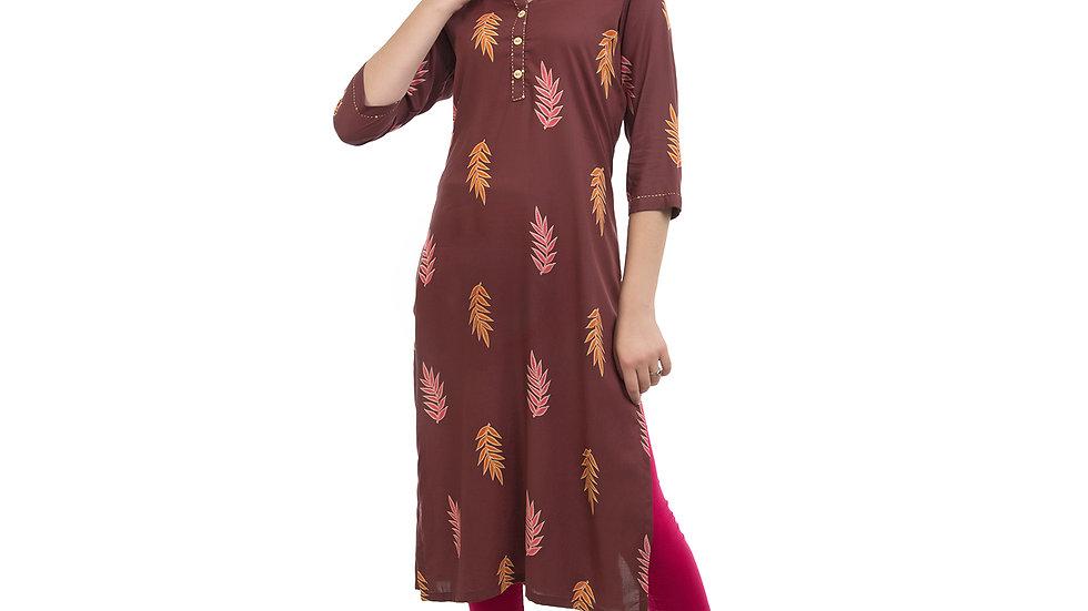 UNFAKENOW  Women Floral Print Cotton Blend Straight Brown Kurta