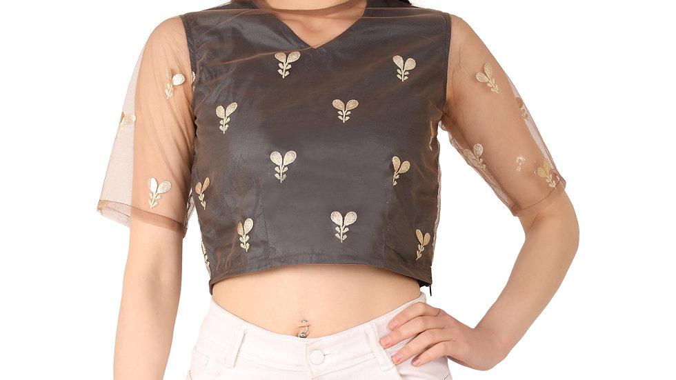 UNFAKENOW  Party Regular Sleeve Floral Print Women Black Crop Top