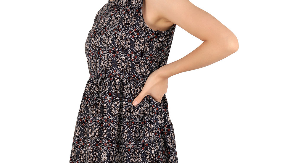 UNFAKENOW Floral Printed Women Peplum Dark Blue Cotton Dress