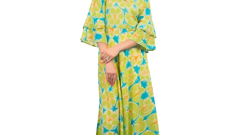UNFAKENOW  Women Printed Cotton Blend Green Kurta