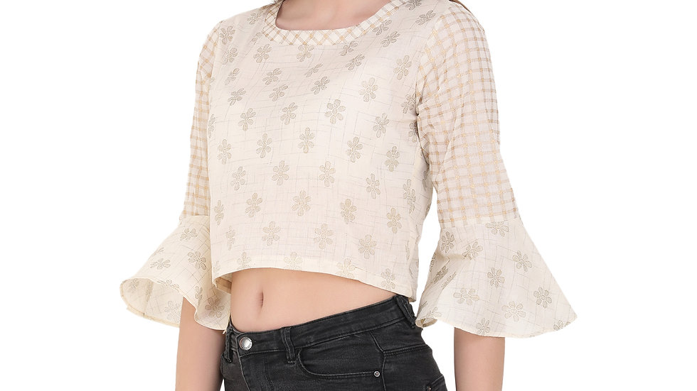UNFAKENOW  Party 3/4 Sleeve Floral Print Women Beige Top