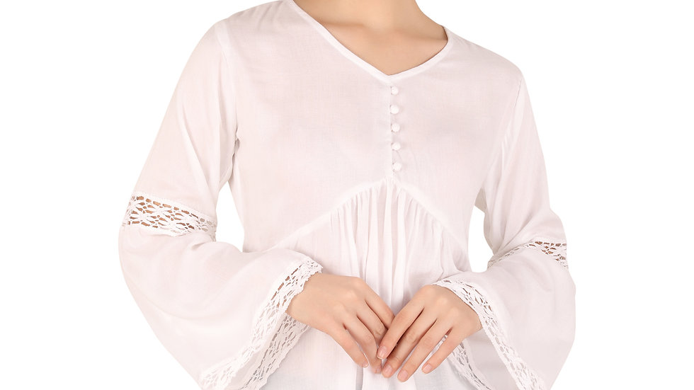 UNFAKENOW  Casual Bell Sleeve Solid Women Laced White Cotton Top