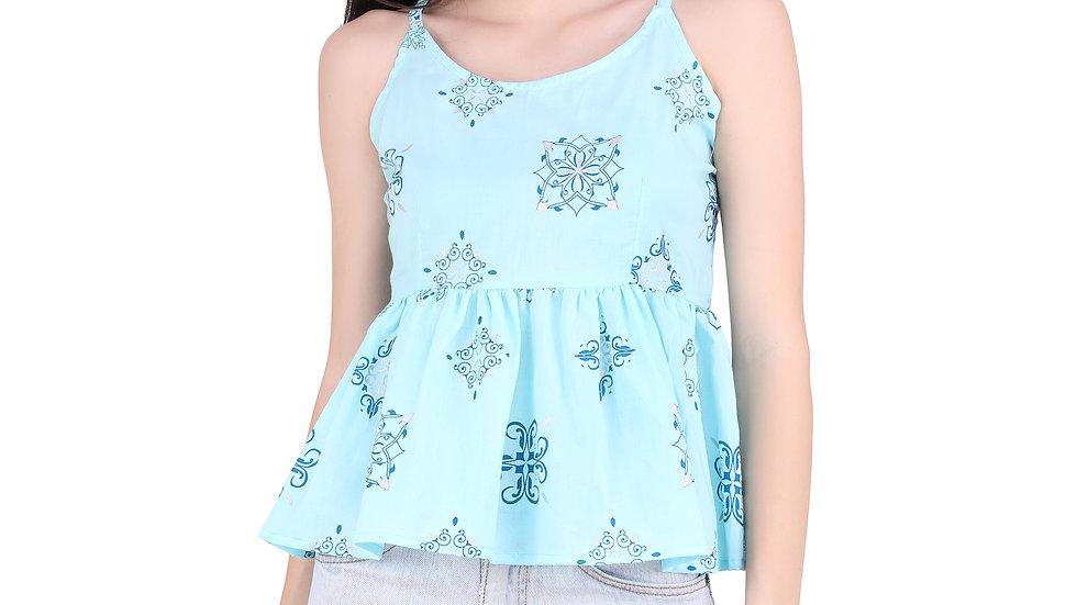 UNFAKENOW  Casual Sleeveless Printed Women Light Blue Top