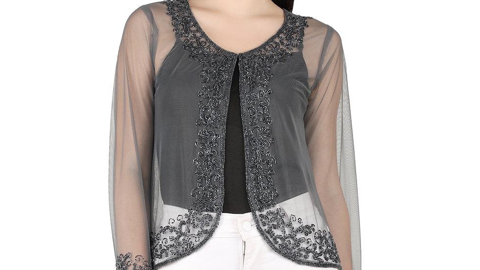 UNFAKENOW  Women Jacket Style Full Sleeve Grey Shrug
