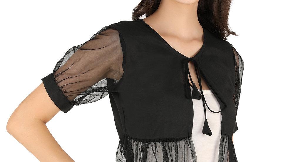 UNFAKENOW  Women Jacket Style Short Sleeve Black Shrug