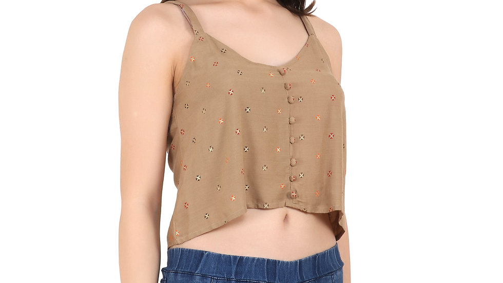 UNFAKENOW  Casual No Sleeve Self Design Women Brown Top