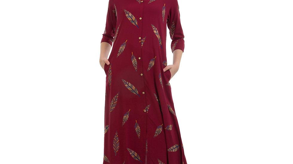 UNFAKENOW  Women Floral Print Cotton Blend A-line Maroon Kurta