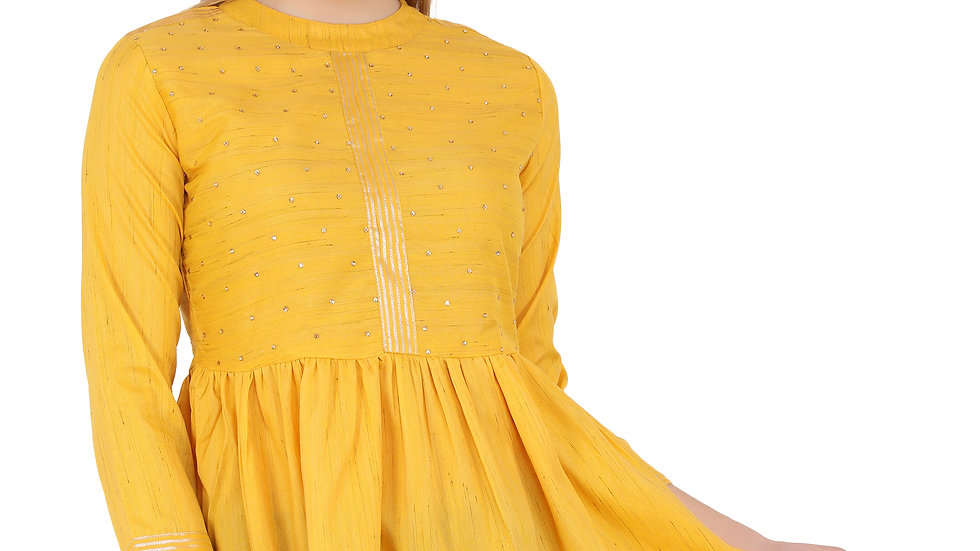 UNFAKENOW  Casual 3/4 Sleeve Embellished Women Yellow Top