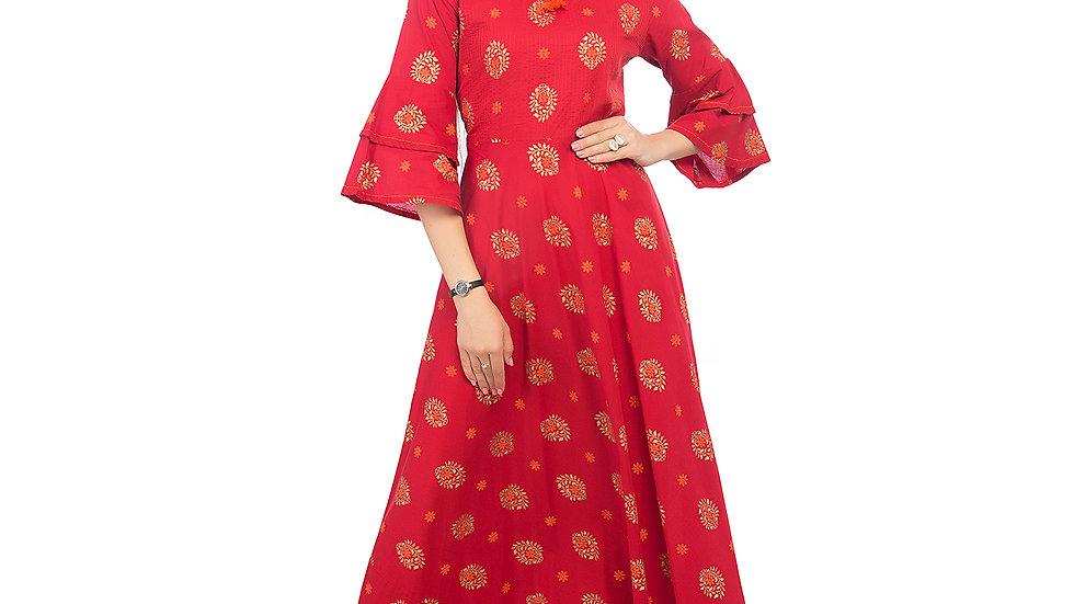 UNFAKENOW  Women Printed Cotton Blend Red Anarkali Kurta