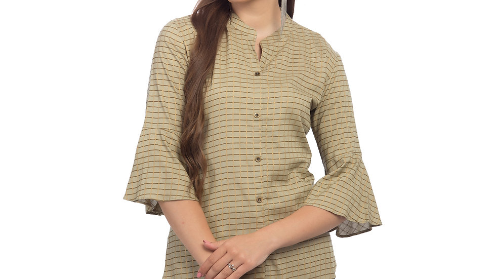 UNFAKENOW  Casual 3/4 Sleeve Striped Women Beige Top