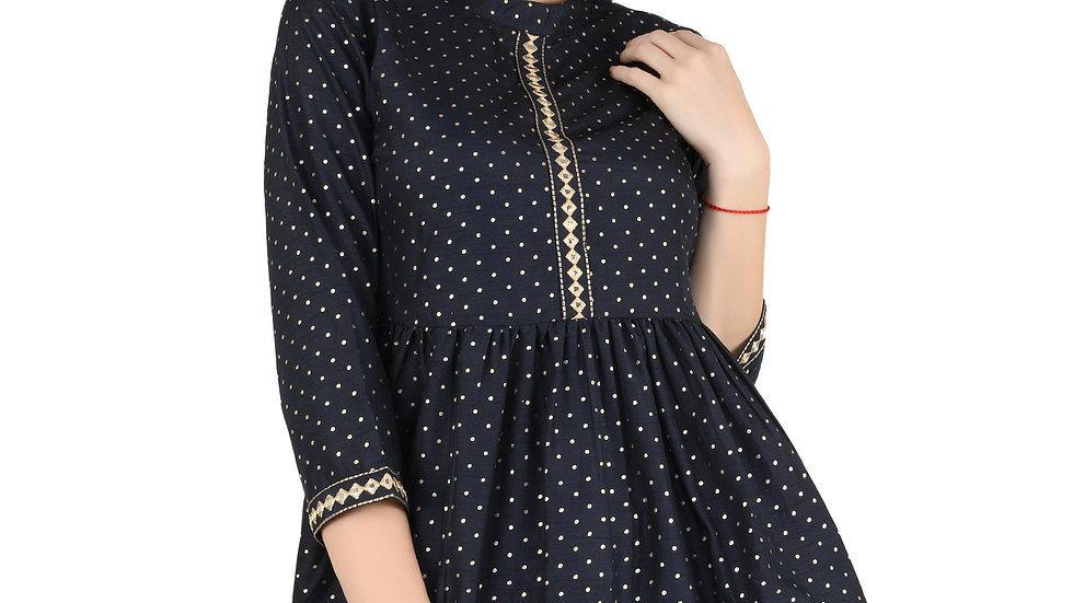 UNFAKENOW  Casual Regular Sleeve Polka Gold Foil Print Women Dark Blue Top