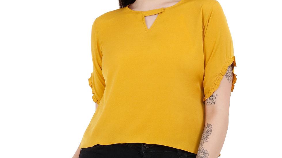 UNFAKENOW  Casual Regular Sleeve Solid Women Yellow Top