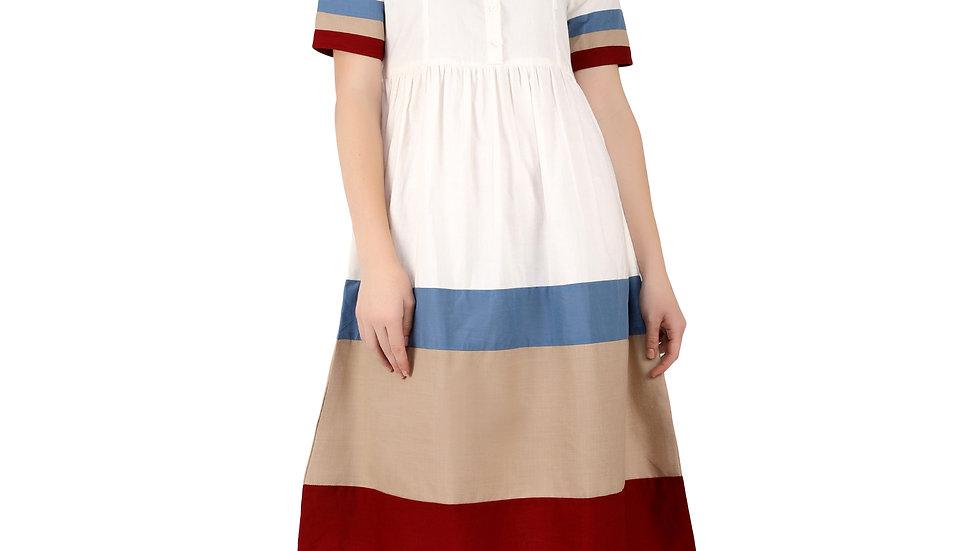 UNFAKENOW  Women Half Sleeve Gathered Multicolor Dress