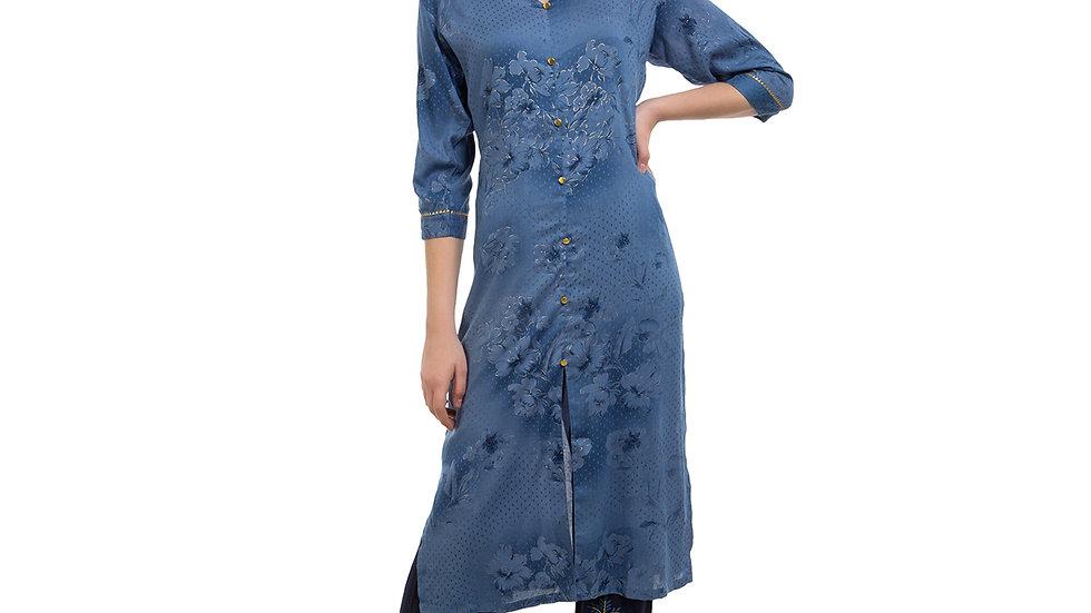 UNFAKENOW  Women Blue Kurta and Palazzo Set Cotton Blend