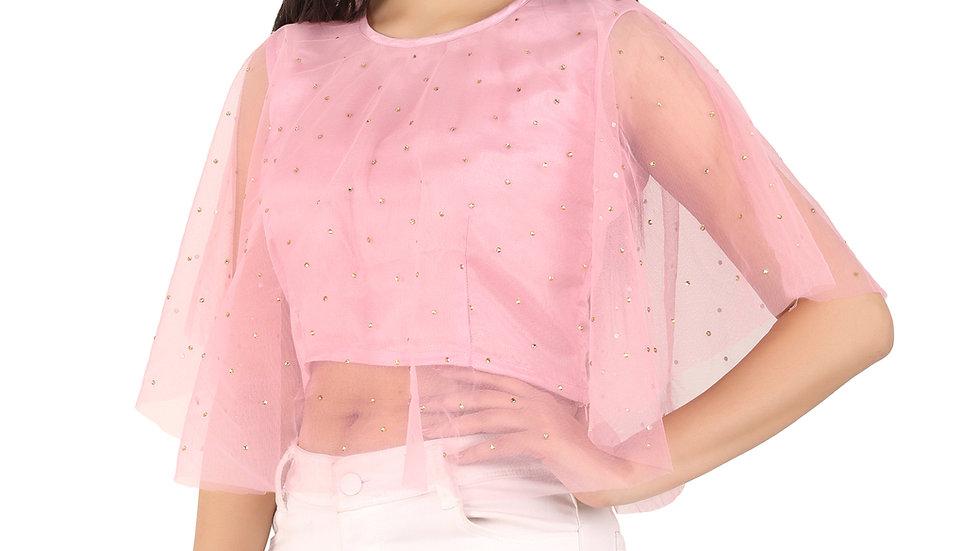UNFAKENOW  Casual 3/4 Sleeve Pearl Embellished Women Pink  Net Top