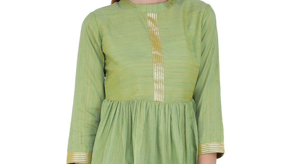 UNFAKENOW  Casual 3/4 Sleeve Striped Women Green Top