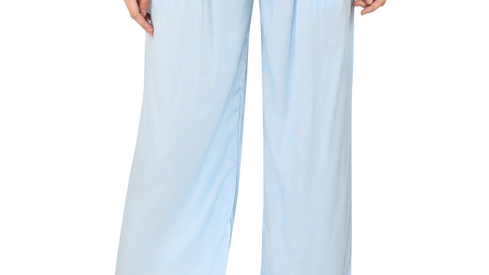 UNFAKENOW  Relaxed Women Light Blue Rayon Trousers