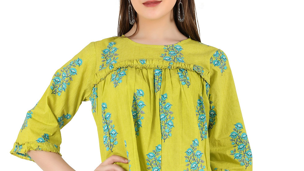 UNFAKENOW  Casual  Frill Floral Printed Women GreenTop