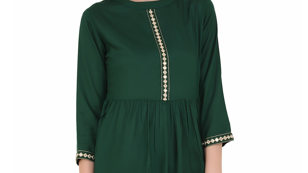 UNFAKENOW  Casual 3/4 Sleeve Embroidered Women Dark Green Top