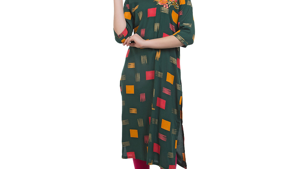 UNFAKENOW  Women Geometric Print Cotton Blend Straight Dark Green Kurta