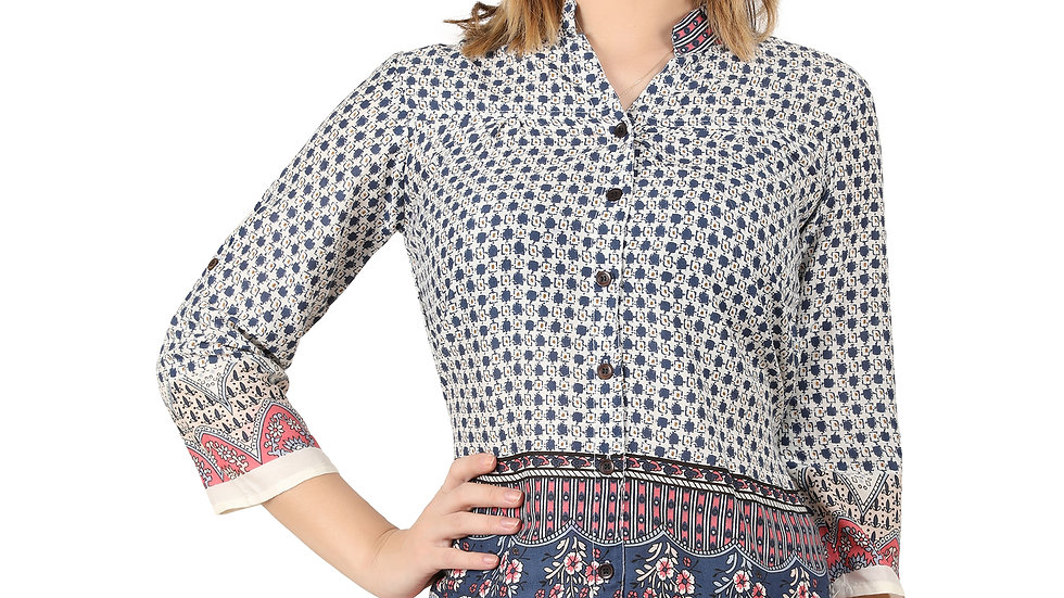 UNFAKENOW Casual 3/4 Sleeve Printed Women Cotton Rayon Blend Shirt Style Multico