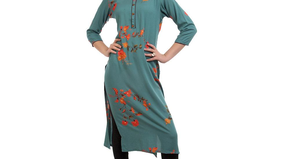 UNFAKENOW  Women Floral Print Cotton Blend Straight Sea Green Kurta