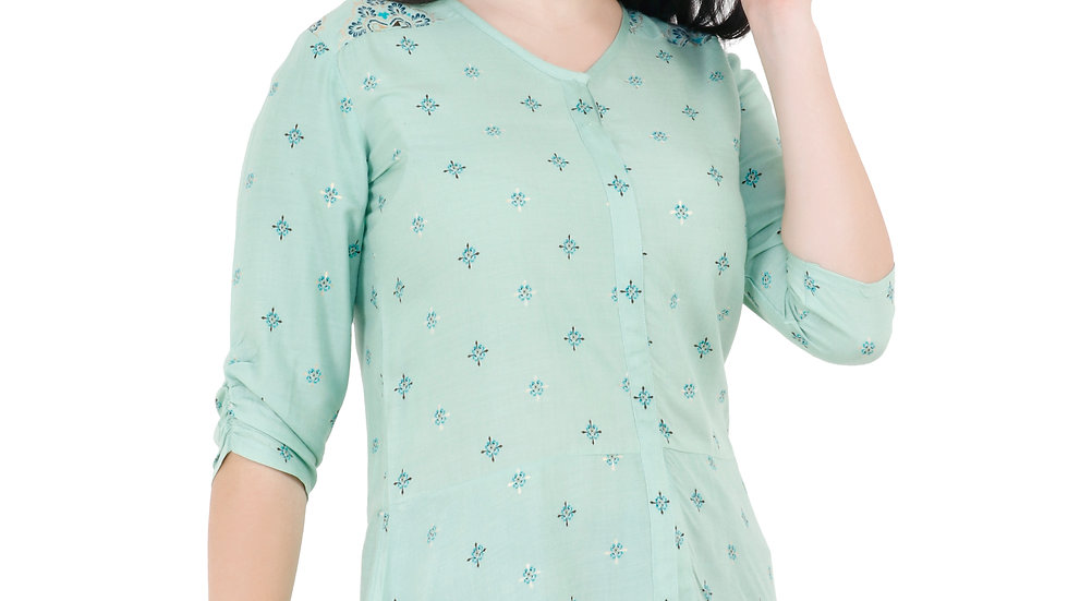 UNFAKENOW  Casual Regular Sleeve Printed Women Light Green Top