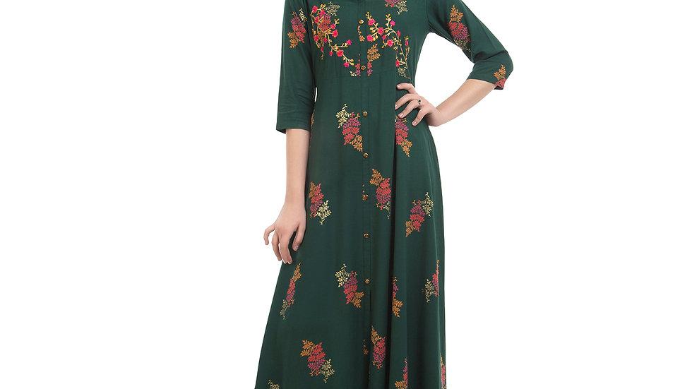 UNFAKENOW  Women Floral Print Cotton Blend Flared Drak Green Kurta