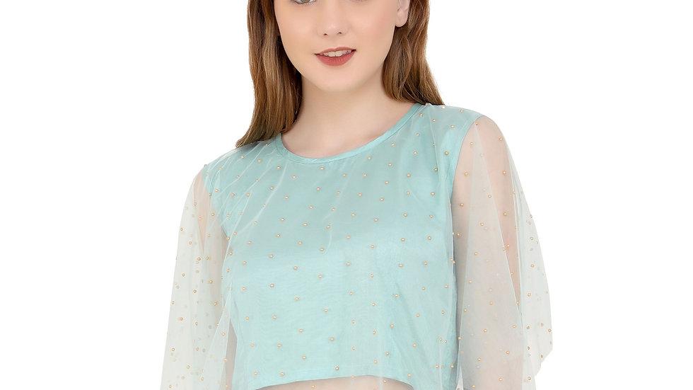 UNFAKENOW  Party Sleeveless Embellished Women Light Green Top