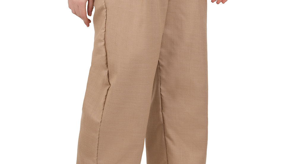 UNFAKENOW  Relaxed Women Solid Brown Cotton Blend Trousers