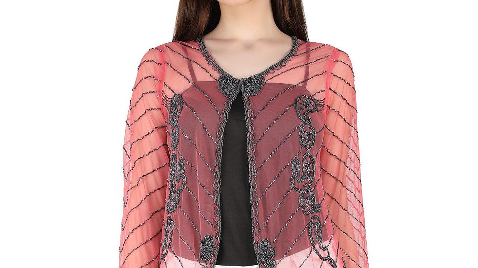 UNFAKENOW  Women Jacket Style Full Sleeve Coral Shrug