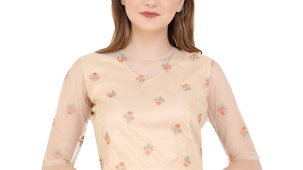 UNFAKENOW  Party Half Sleeve Embroidered Women Gold Top