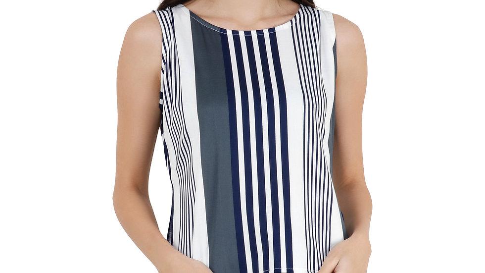 UNFAKENOW womens grey lycra striped Tshirt