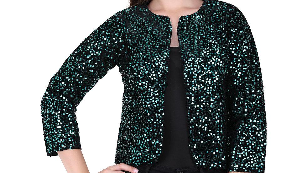 UNFAKENOW  Women Jacket Style 3/4th Sleeve Sequence Embellished Dark Green Shrug