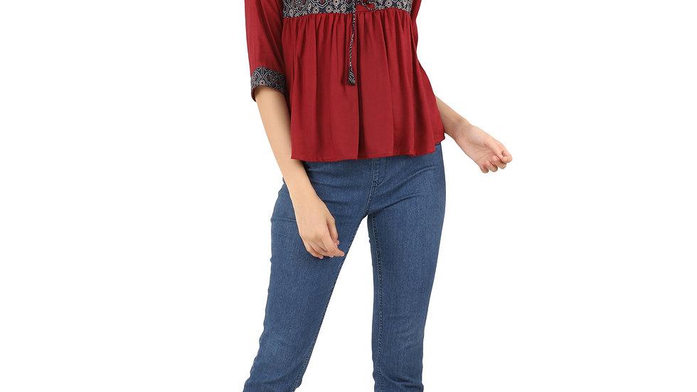 UNFAKENOW Casual Cuffed Sleeve Floral Print Women Maroon Peplum Top