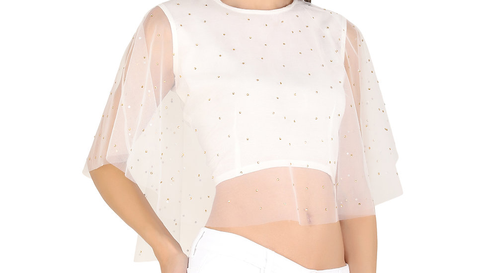 UNFAKENOW  Party Flared Sleeve Pearl Embellished Women White Net Top