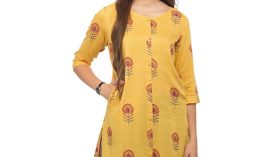 UNFAKENOW  Women Floral Print Cotton Blend Straight Yellow Kurta