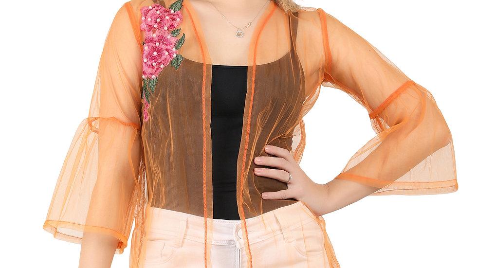 UNFAKENOW Women Kimono Style Embroidered  3/4th Sleeve Orange Shrug