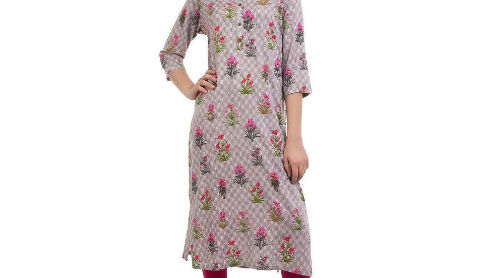 UNFAKENOW  Women Floral Print Cotton Blend Straight Grey Kurta